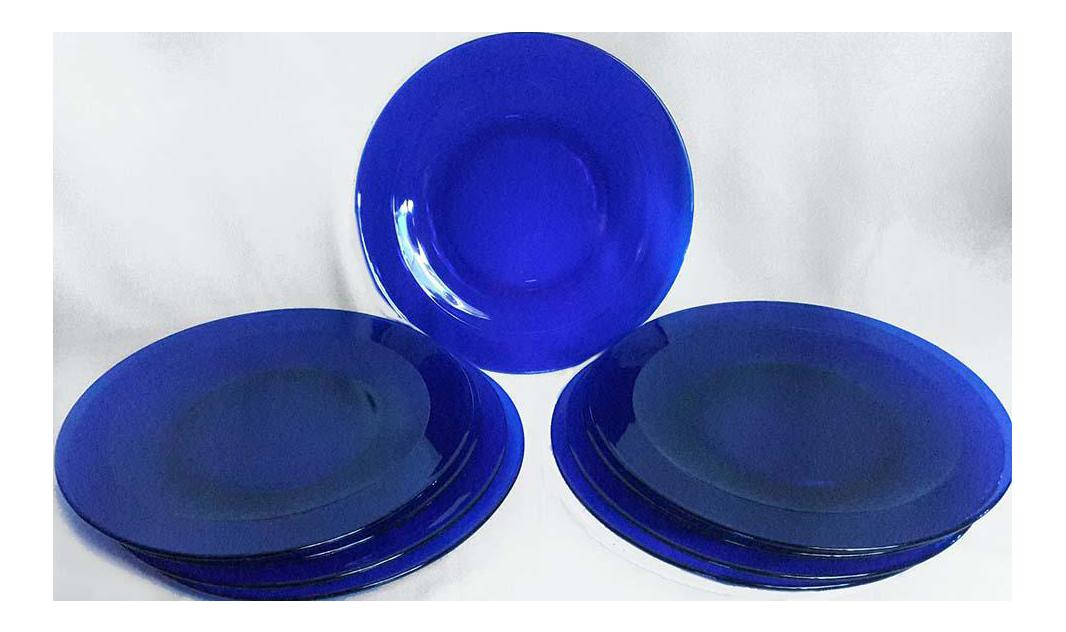 Vintage Cobalt Blue Glass Charger Plates - Set of 9 - Image 1 of 5  sc 1 st  Chairish & Vintage Cobalt Blue Glass Charger Plates - Set of 9 | Chairish