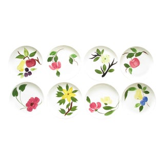1950s Stetson Coupe Ironstone Floral MIX Match Dinner or Luncheon Plates - Set of 8 For Sale