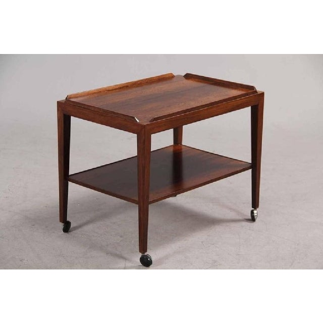 Haslev Mobelsnedkeri Rosewood Side Table on Wheels by Haslev, 1960s For Sale - Image 4 of 6