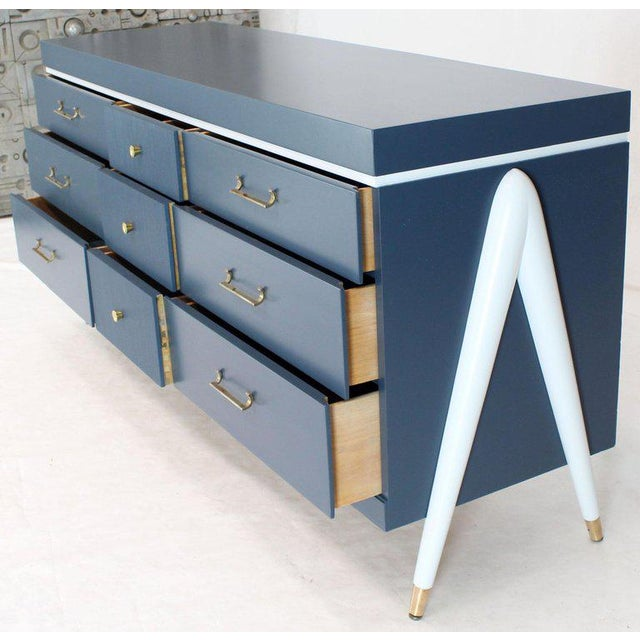 1960s White and Blue Exposed Sculptural Compass Shape Legs Nine Drawers Dresser For Sale - Image 5 of 9