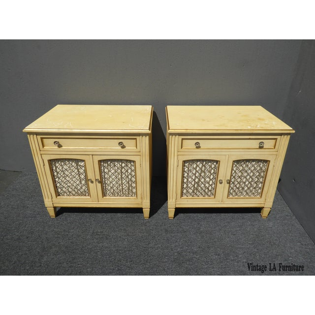 Vintage Kindel French Country Cottage Cream Nightstands - A Pair - Image 4 of 11
