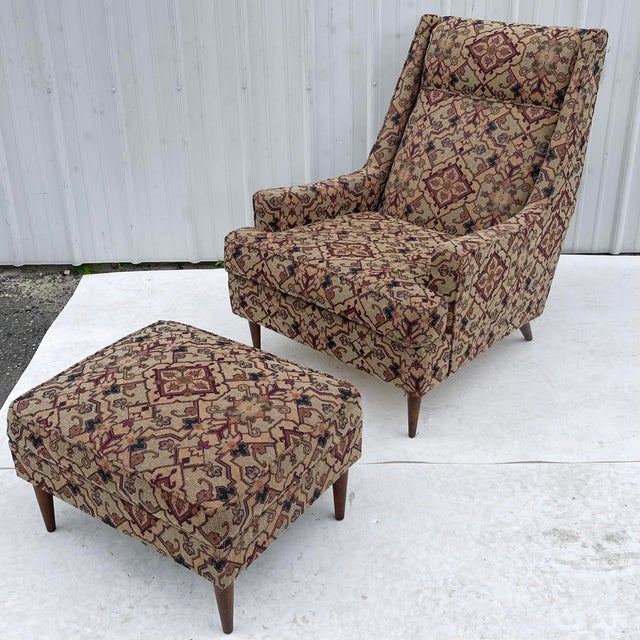 Mid-Century Modern Lounge Chair With Ottoman For Sale - Image 13 of 13