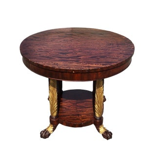 Antique Round French Empire Burl Library Table For Sale