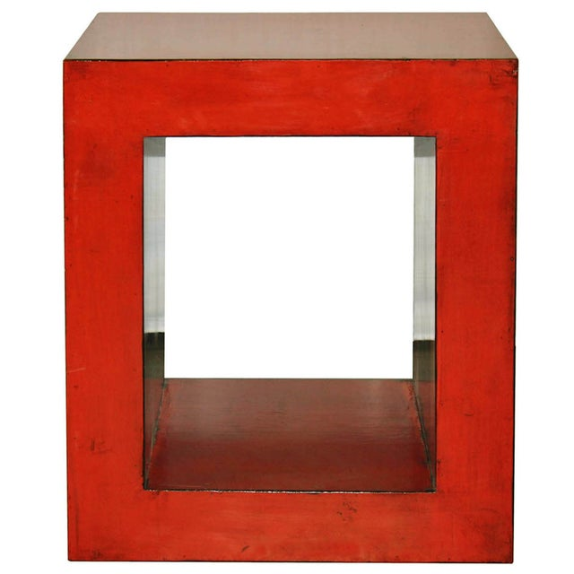 Red-Orange Contemporary Open Side Table For Sale
