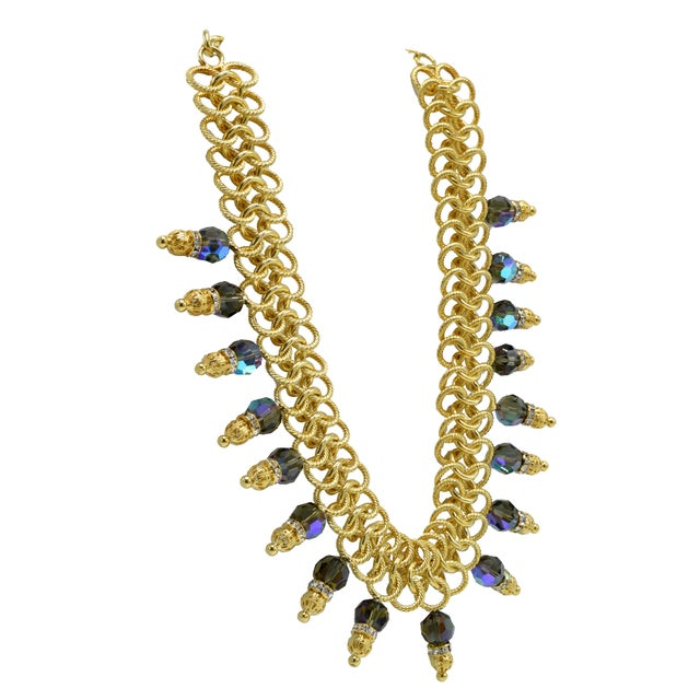 Italian Italian Costume Runway Necklace in Gold and Blue by Justin Joy For Sale - Image 3 of 8