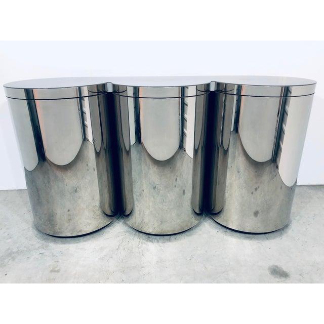 1980s Paul Evans Mirror Polished Steel Cylinder Sideboard For Sale - Image 5 of 13
