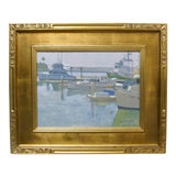 Image of Contemporary California Boat Harbor Bay Docks Painting Framed Paul Strahm For Sale