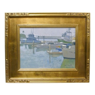 Contemporary California Boat Harbor Bay Docks Painting Framed Paul Strahm For Sale
