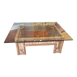 Vintage Pencil Rattan Table With Heavy Glass Top