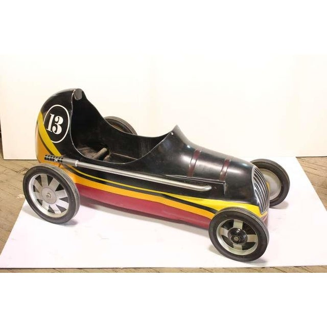 "1950's Vintage ""Lucky 13 "" Soap Box Derby Carnival Ride Car For Sale - Image 4 of 4"