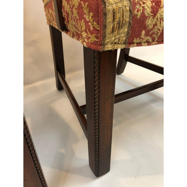 Wood Carved Mahogany and Chenille Upholstered Armchairs - a Pair For Sale - Image 7 of 13