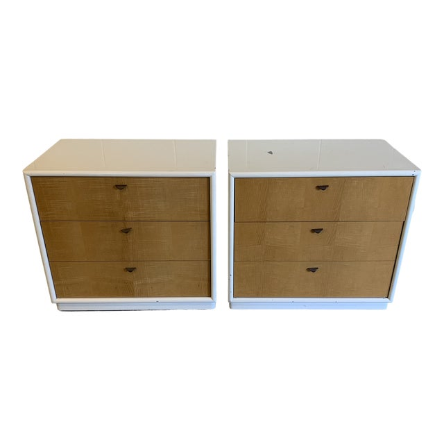 Contemporary White Lacquer & Burl Wood Chests - a Pair For Sale