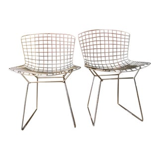 1950s Vintage Silver Bertoia Chairs- a Pair For Sale