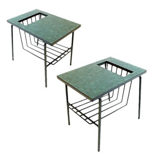 Pair of Midcentury Modern Tile Top Wrought Iron Magazine End Tables or Stands For Sale