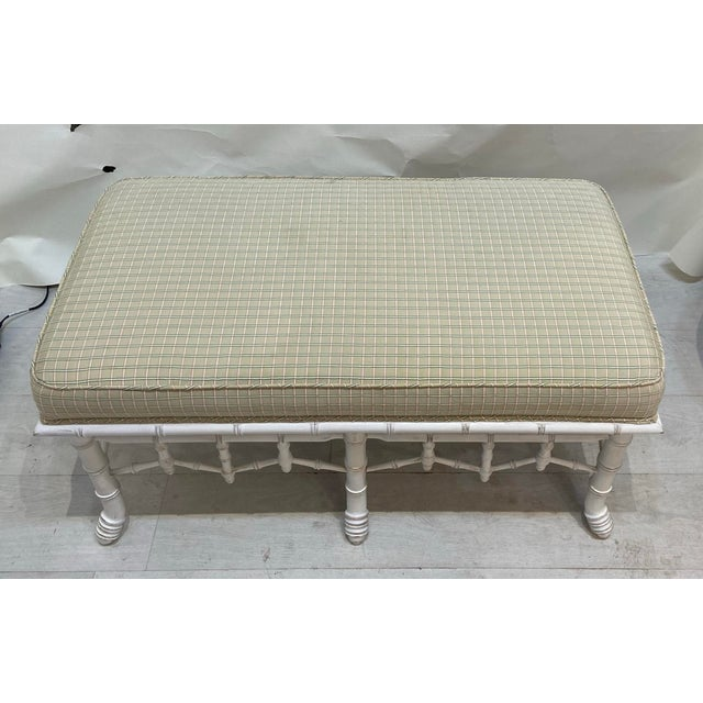 1990s Vintage Faux Bamboo Wooden Bench With Upholstered Top For Sale - Image 4 of 6