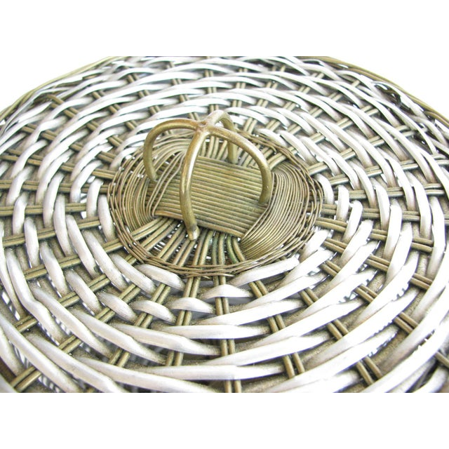 Silver Vintage Woven Two-Tone Metal Wire Lidded Basket For Sale - Image 8 of 11