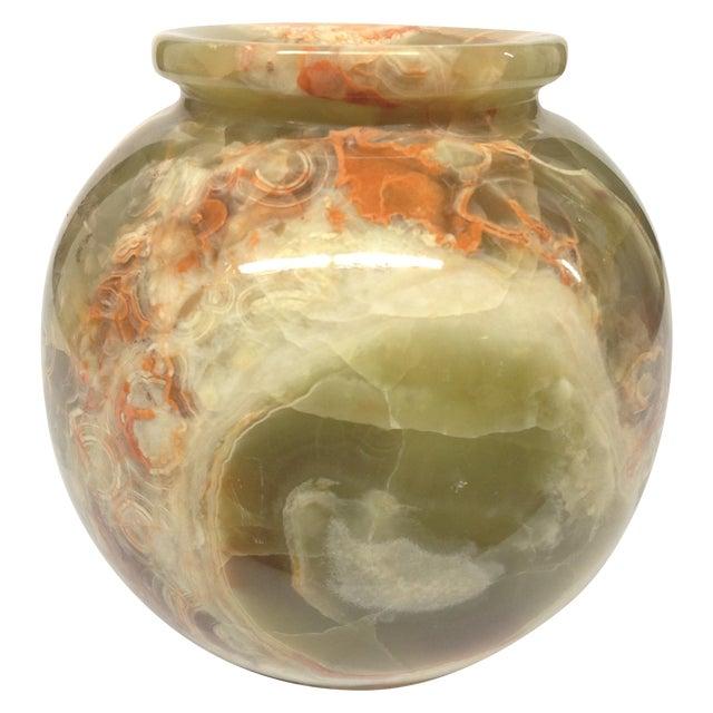 Sage Green & Orange Carved Hard Stone Vase For Sale