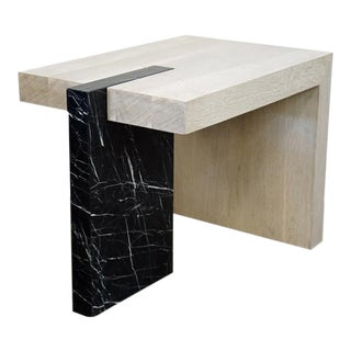 Marble Plinth and Oak Side Table