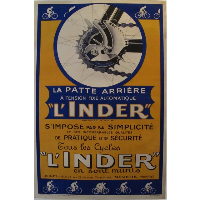 Vintage French L'Inder Bike Poster - Image 2 of 8