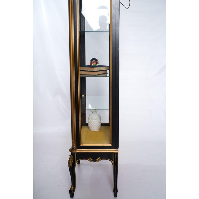 Black Black and Gold Mirrored Curio Cabinet For Sale - Image 8 of 10