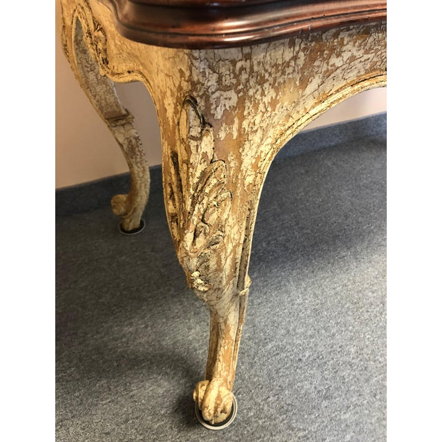 1990s Romantic Distressed Carved and Painted Wood Desk With Rich Cherry Top For Sale - Image 5 of 13