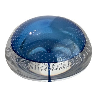 Murano Glass Royal Blue Bullicante Paperweight For Sale