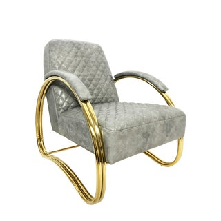 21st Century Sarried Ltd. Leather & Brass Beatty Armchair For Sale