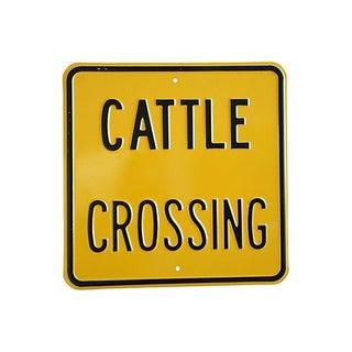 Vintage Heavy Embossed Metal Cattle Crossing Sign For Sale