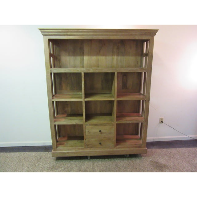 Large Country French Open Front Cupboard Offered is a nice Country French Open Front Cupboard. The piece has 8 cubby...