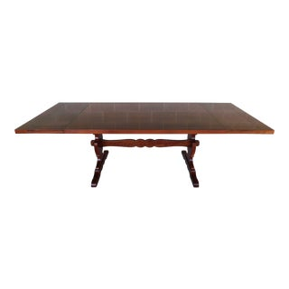 Harden Furniture Solid Cherry Trestle Base Dining Table For Sale