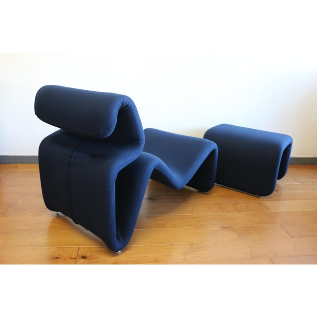 Ribbon Lounge Chair and Ottoman by Oliver Mourgue For Sale In Los Angeles - Image 6 of 12