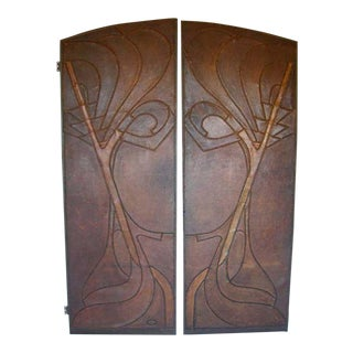 Pair of Art Nouveau Antique Leather doors For Sale