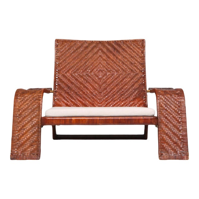 1970s Postmodern Lounge Chair in Woven Leather by Marzio Cecchi For Sale