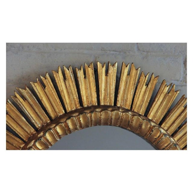 1930s Mid-Century French Sunburst Mirror With Original Mirror Glass For Sale - Image 5 of 9