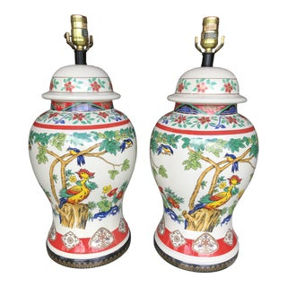 Vintage Chinoiserie Phoenix Painted Lamps-Pair For Sale