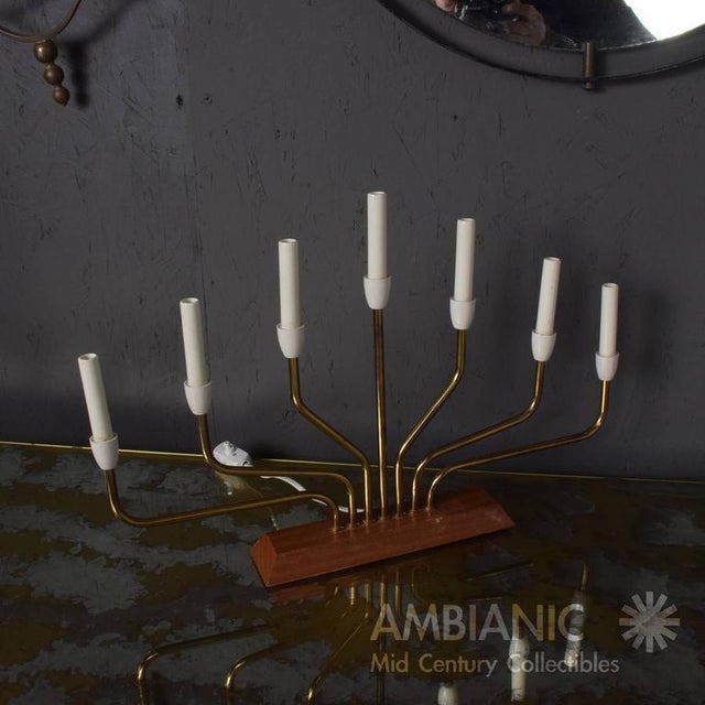 Brass Pair of Danish Modern Menorah Table Lamps For Sale - Image 7 of 8