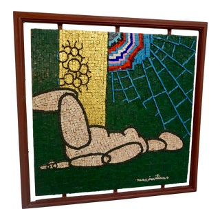 Early 21st Century Abstract Figurative Century Glass Mosaic Collage by Beltrame Massimiliano, Framed For Sale