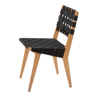 1950s Vintage Jens Risom for Knoll Webbed Wood Side Chair For Sale