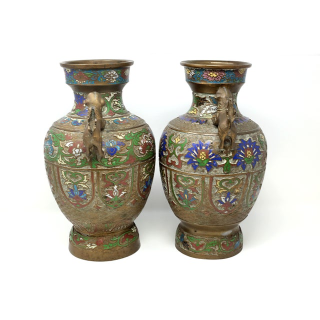 Vintage Bronze Champleve Urns With Foo Dog Handles - a Pair For Sale - Image 4 of 11