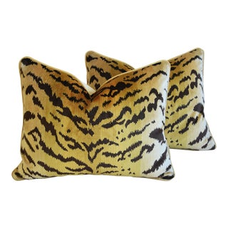 "Scalamandre Le Tigre Tiger Silk Feather/Down Pillows 23"" X 18"" - Pair For Sale"