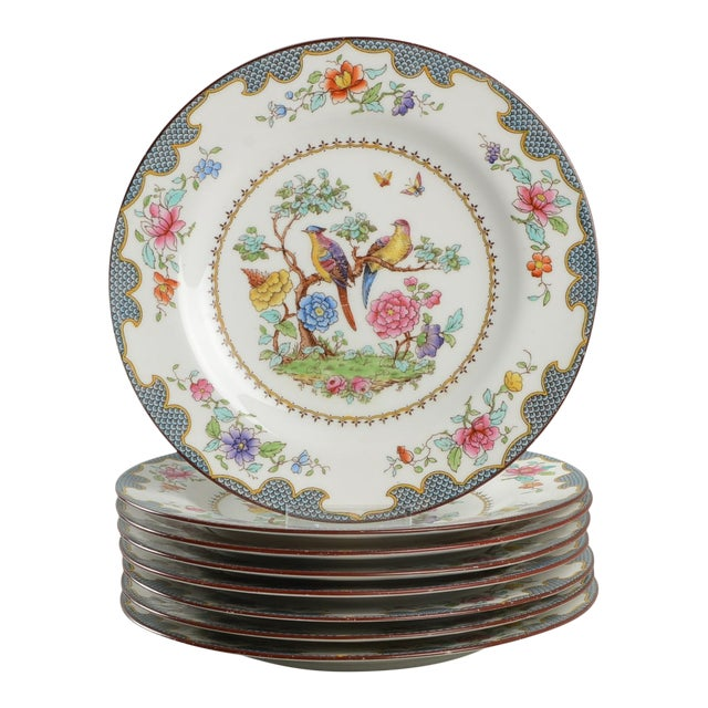 Vintage Spode Brompton Blue Luncheon Plate - Set of 8 - Set of 8 For Sale