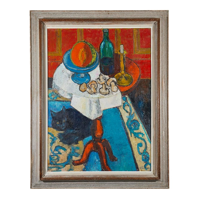 1950s Oil Painting Still Life Signed 1950's For Sale - Image 5 of 6