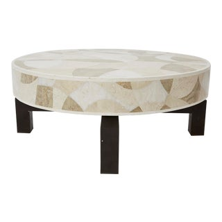 "1990s Contemporary Round Tessellated Stone ""Carnival"" Cocktail Table"