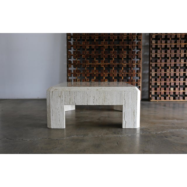 Modernist Travertine Coffee Table Circa 1980 For Sale In Los Angeles - Image 6 of 10