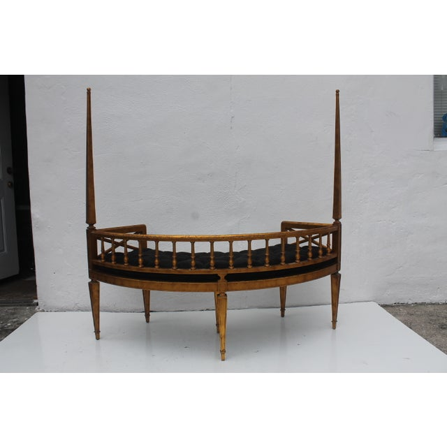French Antique Curved Two Poster Giltwood Settee - Image 3 of 11