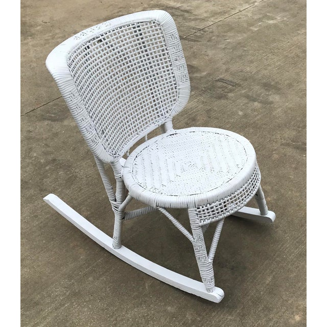 American Early 20th Century Antique White Wicker Rocking Chair For Sale - Image 3 of 8