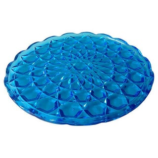 Vintage Blue Glass Diamond Serving Platter For Sale