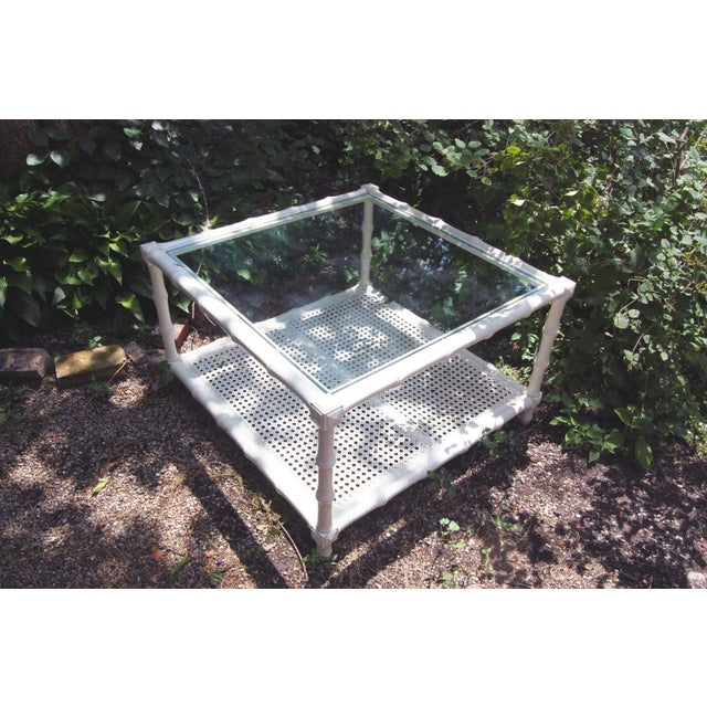 1970s Vintage Square White Wood Faux Bamboo Coffee Table With Glass Top and Caned Shelf - Image 4 of 4