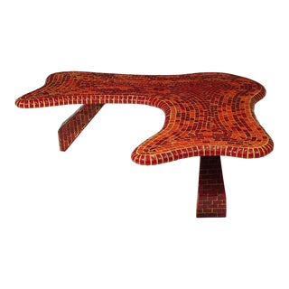 Vintage Free-Form Red Mosaic Tile Coffee Table For Sale