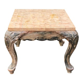 Antique Italian Carved Walnut Marble Top Low Table For Sale